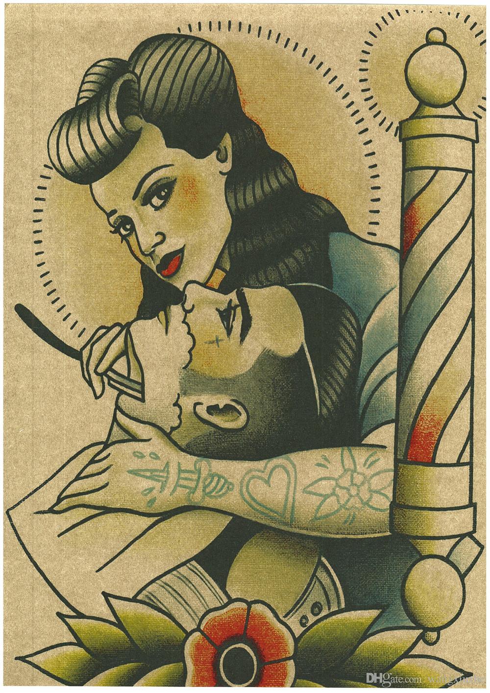 Envío gratis Vintage Peluquería Tatuajes estampados Carteles de Papel Kraft Interior Pintura Restauración Etiqueta de La Pared Peluquería Decoración Del Hogar