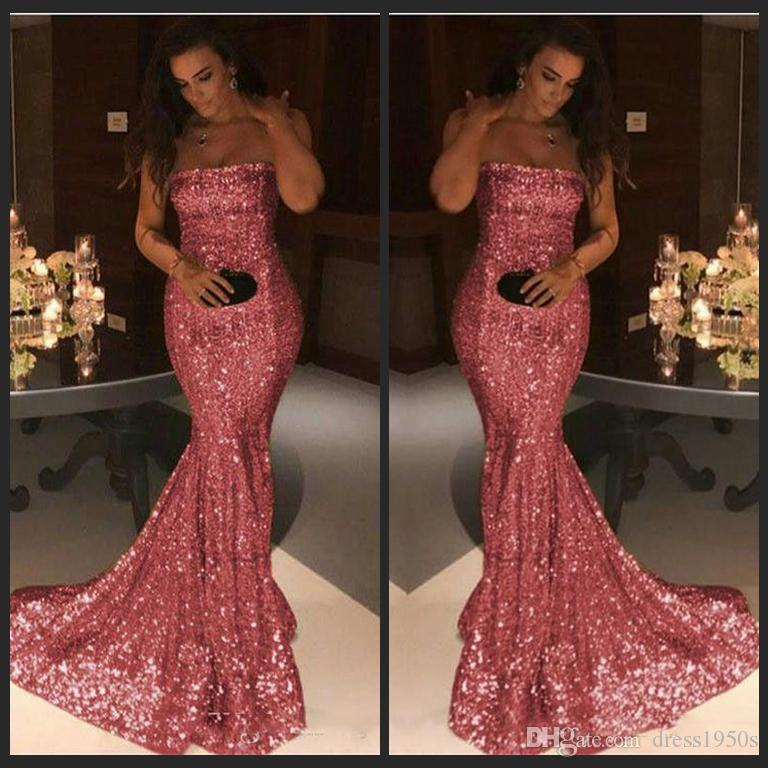 Bling Bling Pink Sequind Prom Dresses Strapless Mermaid Evening Gown ...