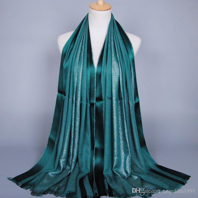 women's solid color shimmer cotton scarf shawls headband glitter muffler hijab wrap headband muslim scarves