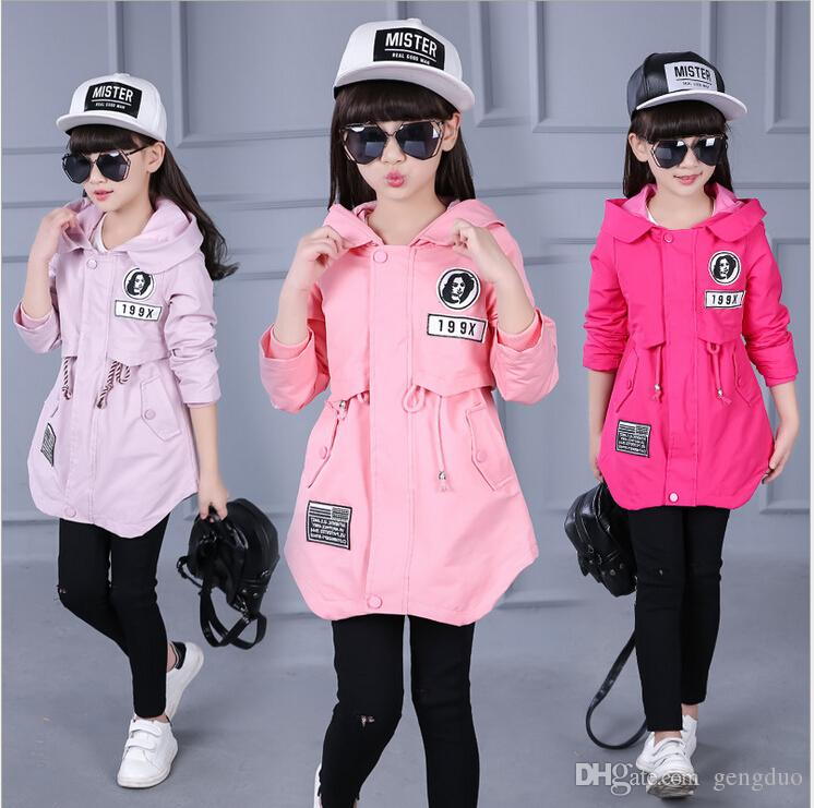 Fashion Children Jacket Girls Outwear Casual Hooded Coats Windbreaker Girls Jackets Baby Kids Trench Spring Autumn Clothes Coat