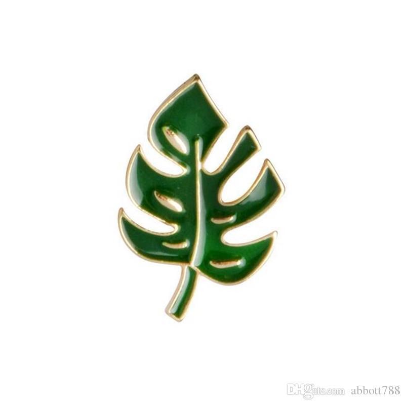 3pcs/set Cartoon Creative Enamel Green Cactus Coconut Trees Leaf Brooches Women Fashion Jewelry Wedding Banquet Scarf Gifs Brooch Pin DH335