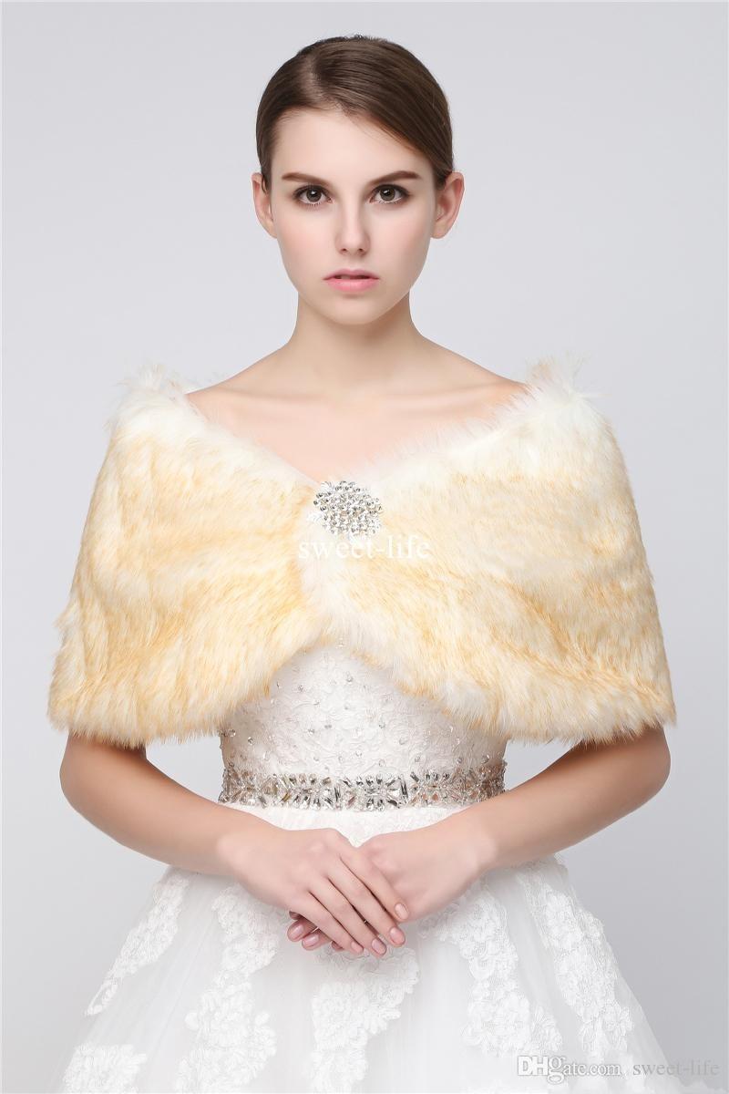 Custom Made 2017 Cheap Faux Fur Lungo Shrug Cape Stola Wrap Matrimonio con Manica Lunga Taglia Gratuita Prom da Sposa Bianco IVORY Bolero