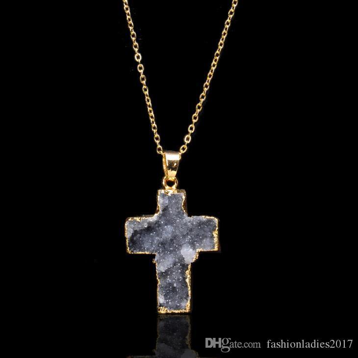 Heißer naturstein druzy drusy kreuz anhänger halskette mode unregelmäßigen druzy edelstein lava kristall quarz frauen halsketten schmuck geschenk c660