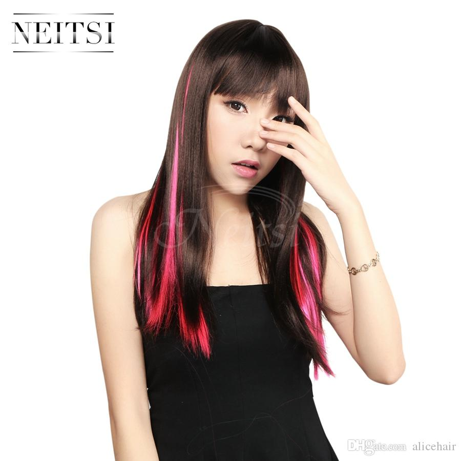 Neitsi 18inch Pinkf24 80g Straight Colored Synthetic Hair