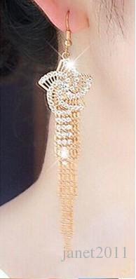 Élégant Femmes Dangle Hoop Boucles D'oreilles Fleur Gland Strass Dangle Crochet Boucles D'Oreilles Bijoux De Mode Cadeaux Dangle Earrings