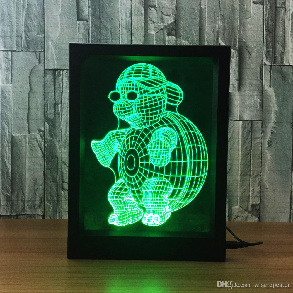 Grosshandel 3d Turtle Led Bilderrahmen Dekoration Lampe Ir
