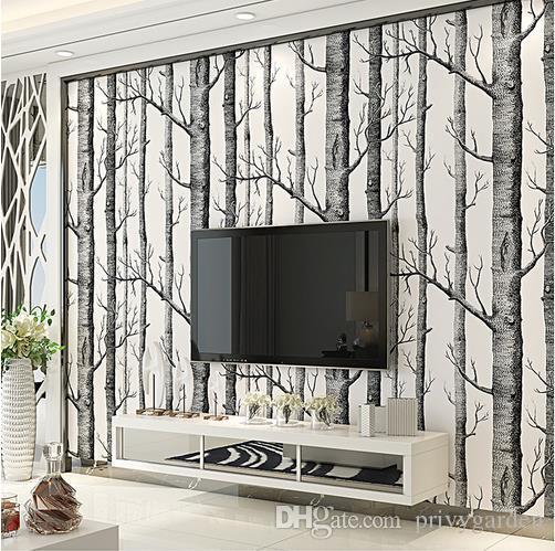 Großhandel Schwarz Weiß Birke Baum Tapete Für Schlafzimmer Modernes ...