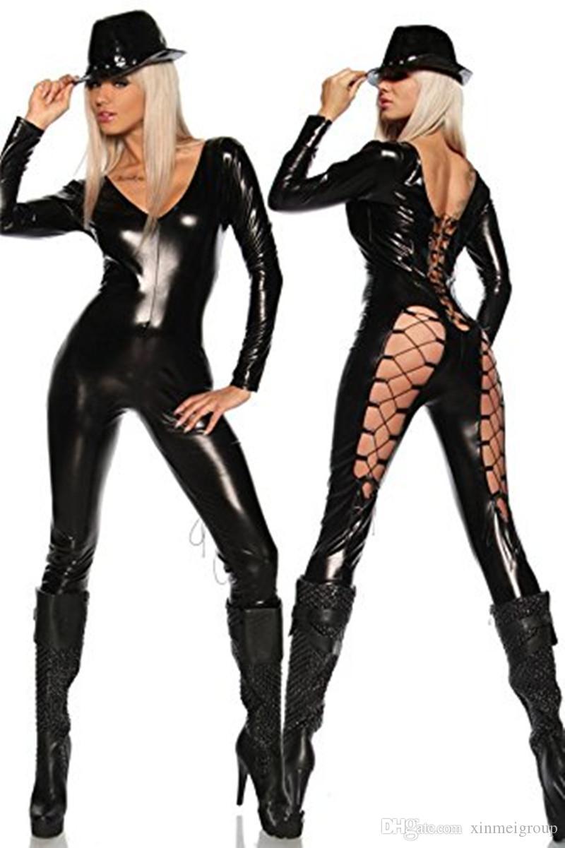 grosshandel sexy kostum leder wet look catsuit strampler lace up steampunk kostum faux vinyl sexy aushohlen club jumpsuit w7913 von xinmeigroup