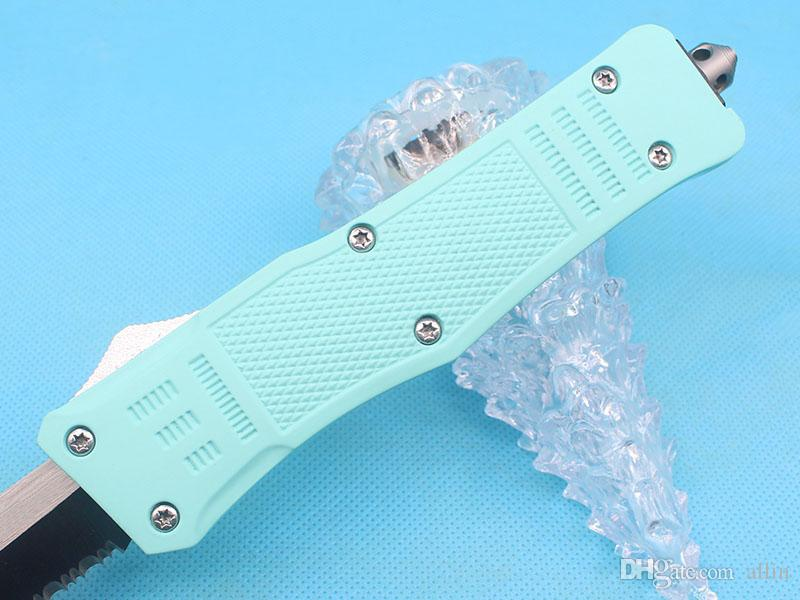 Promotion Large Size 616 Blue Handle Auto Tactial Knife 440C 58HRC Single Edge Tanto Half Serration Blade Tactical Gear