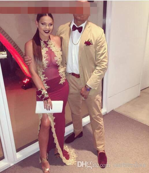 Burgundy And Gold Prom Suit - Go Suits