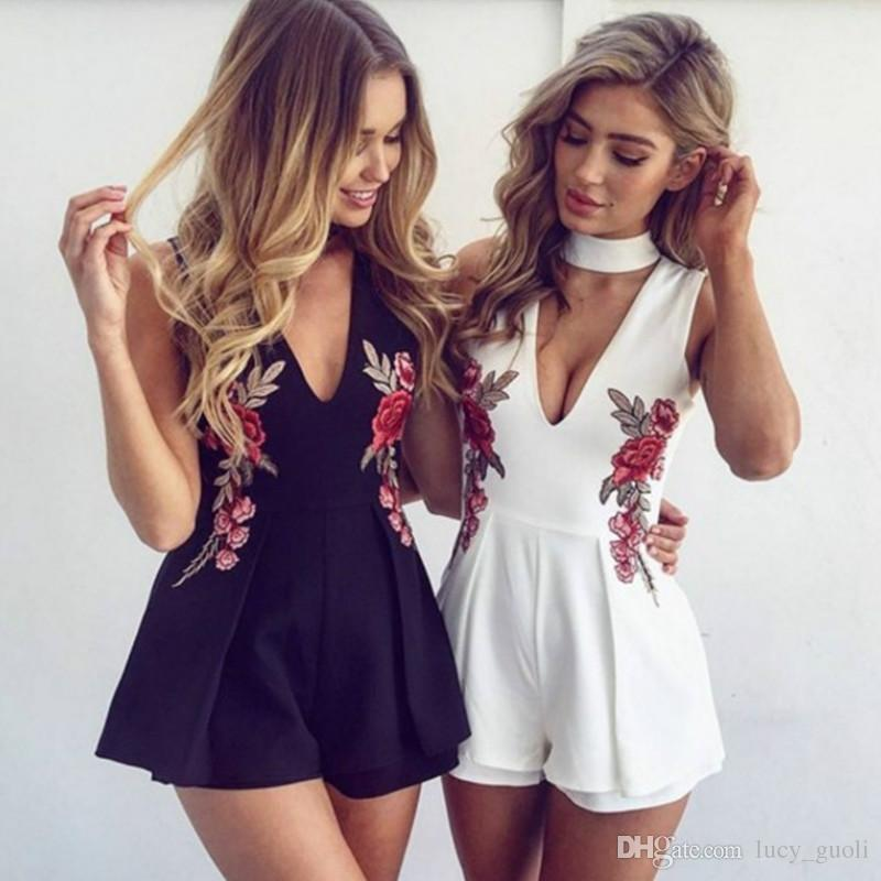 9814be6d7eb 2019 Women Summer Short Jumpsuits Elegant V Neck Rose Florla Embroidery Women  Playsuits Sleeveless White Rompers Jumpsuits Casual Beach Overall From ...