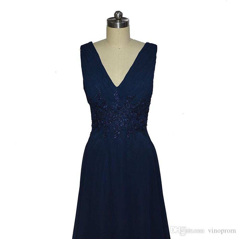 Vestido De Renda A-Line con scollo a V in chiffon Lunghezza del pavimento scuro blu navy abito da sera sera Dresess 2018