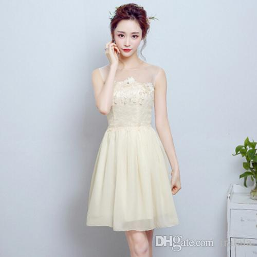 Beautiful Champagne Colored Formal Applique a Line Short Dress New ...