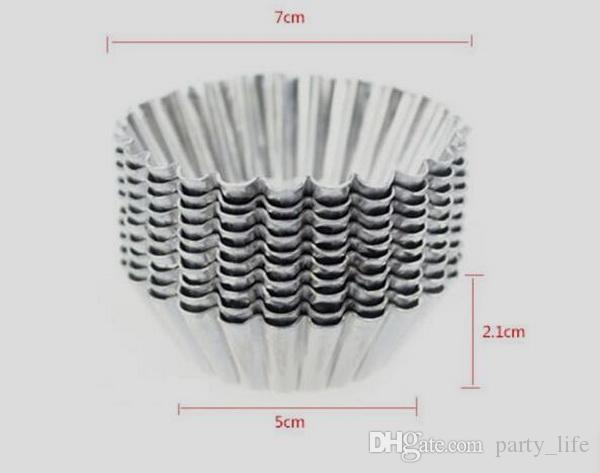 100 teile / los, Aluminium Cupcake Form Cookie Pudding Eierkuchenformhersteller Küche Zubehör Backen Gebäck Werkzeuge