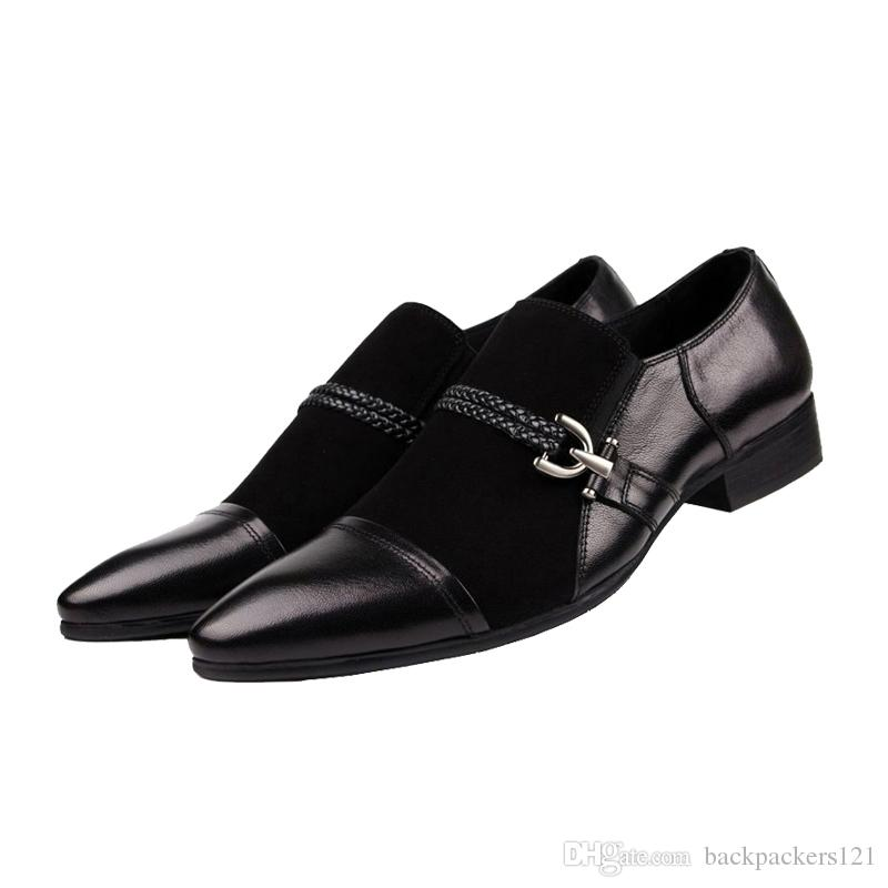 men suede shoes genuine leather high quality black slip on business wedding italian fashion mens shoes sales 2017