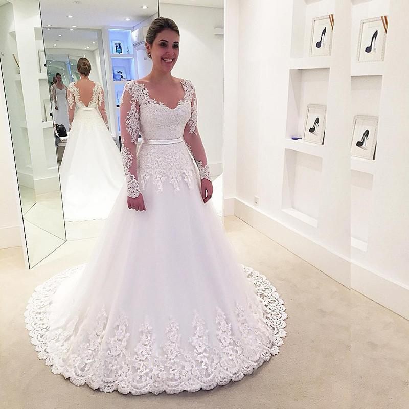 Discount 2017 White A Line Wedding Dresses With Long Sleeves ...