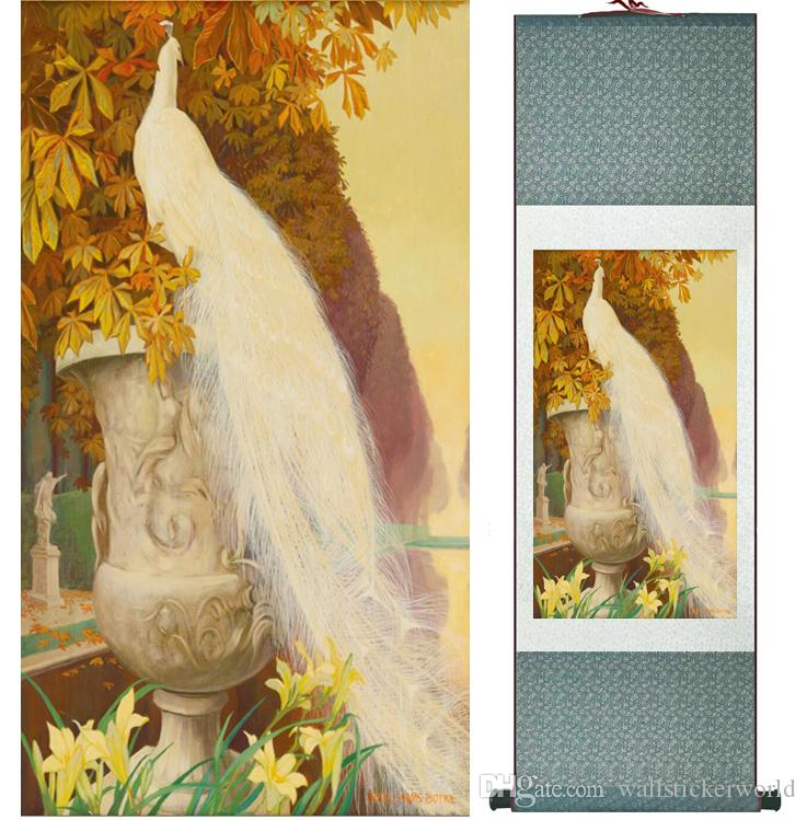 HD Printed White Peacock Wall Pictures Chinese Scroll Silk Wall Art Poster Picture Painting Home Decoration Wall Hanging