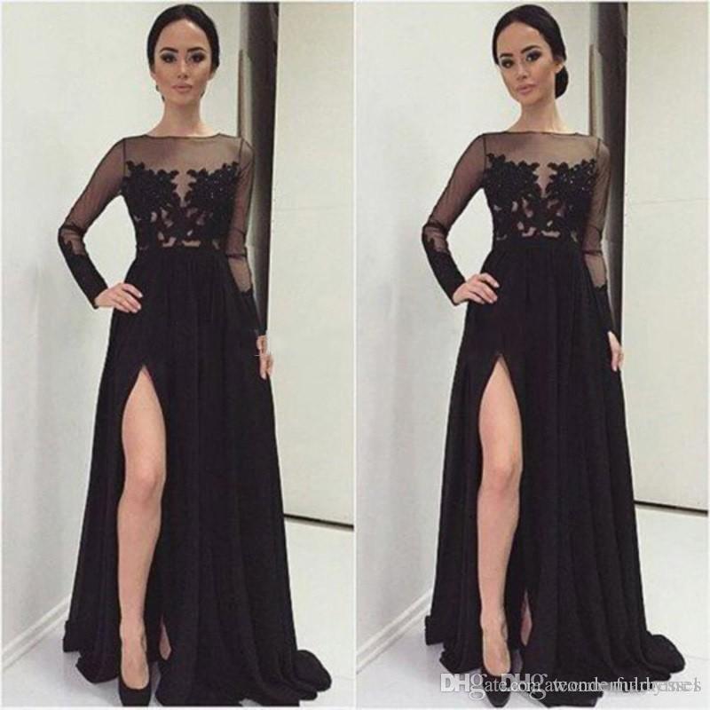 Großhandel Split Abendkleider Spitze Schwarz Prom Kleid 2016 Sexy ...