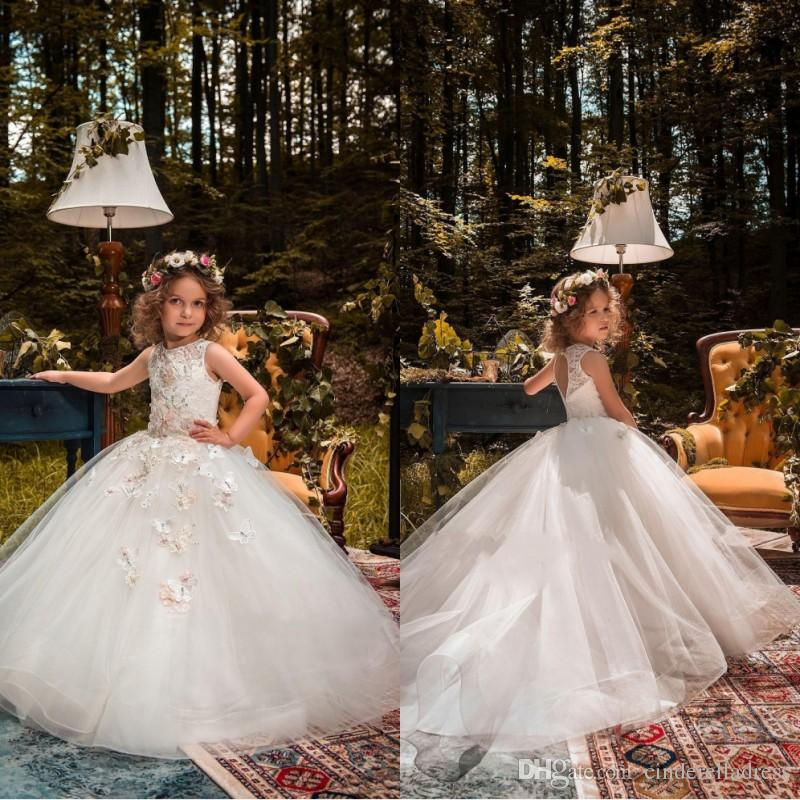 0f5b3cbfdbc 2018 Holy Flower Girl Dresses For Weddings Princess Ball Gown Tutu Lace  Beads Butterflies Kids First Communion Gowns Wedding Dresses For Kids  Wedding Stores ...