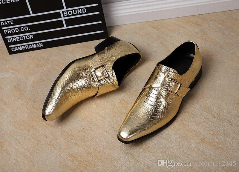 High Fashion Genuine Leather Snake Men Dress Shoes Gentleman Serpentine Buckle Footwear Party Dancing Shoe Male Boys Gold/Silver