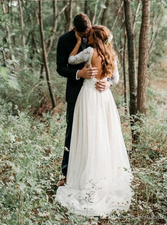 2020 Simple Lace Tulle Bohemian Beach Wedding Dresses With Half Sleeves Sweep Train Backless Cheap Bridal Gowns