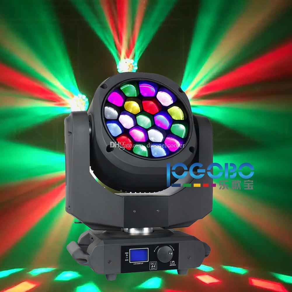 Pack of 19x15W Big Bee Eye Lighting Led Moving Head Disko Projector Zoom 4-60 Degree RGBW DMX DJ Beam Spot Stage Effect Party Lights