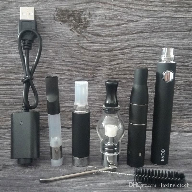 4 1 E 담배 스타터 키트 유리 글로브 왁스 분무기 아고 G5 드라이 허브 기화기 Vape 펜 카트리지 적셔 펜 Ecig Evod 배터리 키트