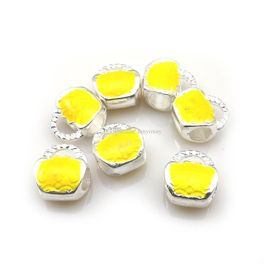 Srebrny Tone Torebka Kształt European Koraliki Emalia Urok Koraliki Fit Biżuteria DIY