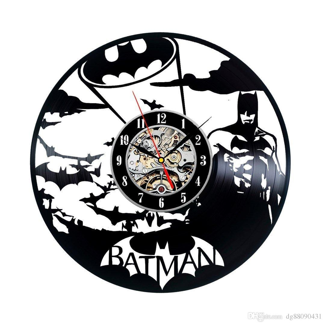 Hot sale black batman vinyl record wall clock gift idea for adults decoration party decoration halloween and christmas de wall clocks decorative wall clocks