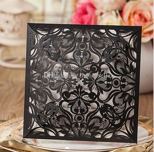 Nuevas tarjetas de invitación de boda de corte láser de la flor de la fiesta de flores de encaje hueco Invitar tarjetas de amigo con sobres y sello