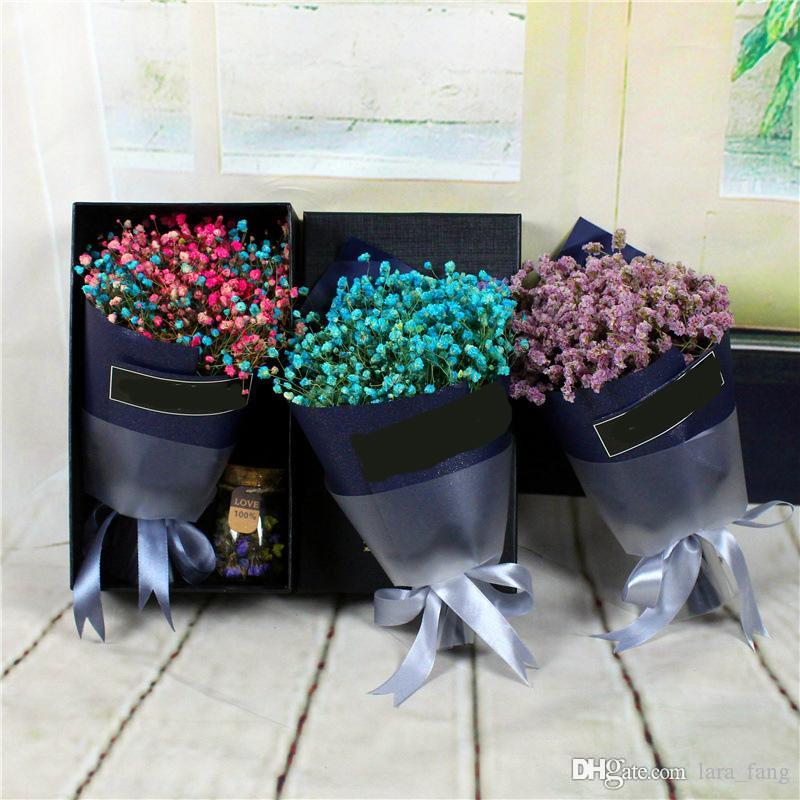 2018 Mini Dry Flower Gift Box Dried Production In Yunnan Natural Air Blue All Over The Sky Star Forget Me Not Is Combination Of Diy From