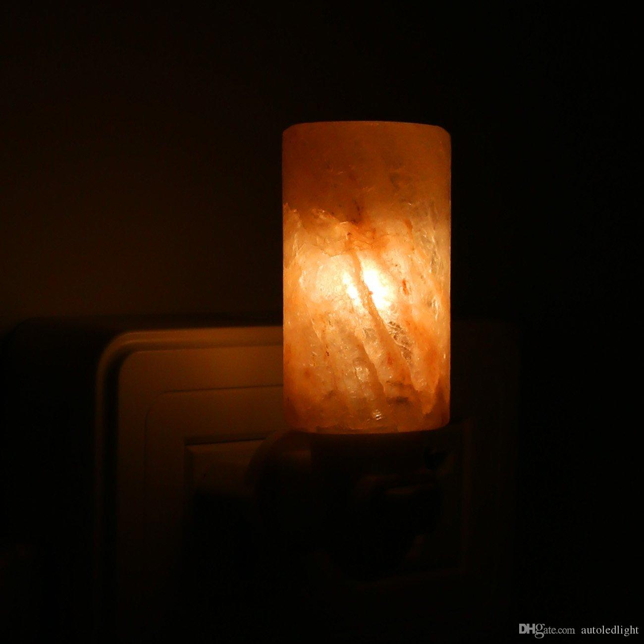New Natural Himalayan Salt Led Night Light Décoratif Purificateur D'air Lampes Murales Cylindre Nursery Lampe Cristal Lampe US / EU / AU / UK Plug