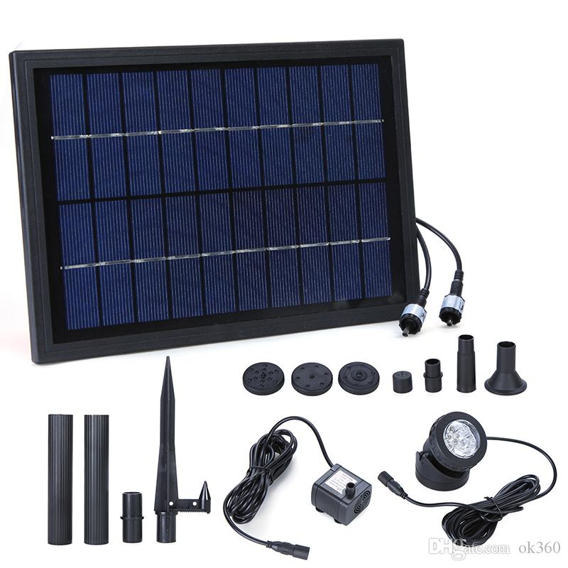 10V 5W Solar Power Decorative Fountain Water Pump with 6LED Spotlight Submersible LED Pump Fountain for Garden Pond