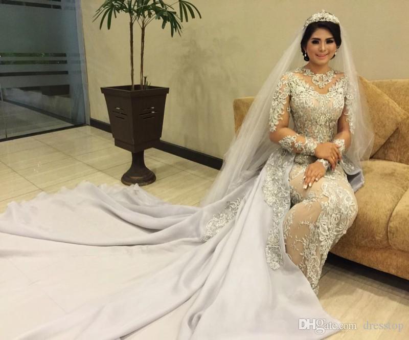 De luxe détachable train robes de mariée sirène applaudie trompette robes de mariée bijou décolleté robe de mariée à manches longues