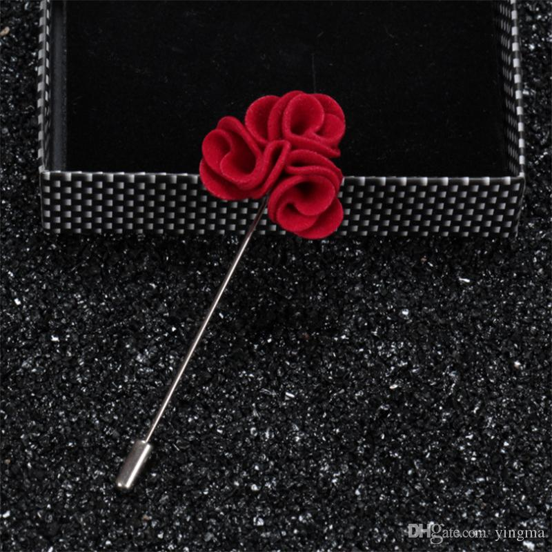 New Fashion Men Flower Lapel pin suit Boutonniere fabric yarn pins colors button rose Stick Brooches wedding Groomsman Broches gift