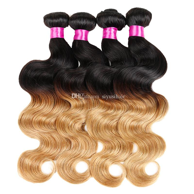 Cierre de encaje rubio con paquetes Ombre cabello humano Pelo peruano de la onda del cuerpo teje 1B / 4/27 1B / 27 paquetes de cabello con cierre