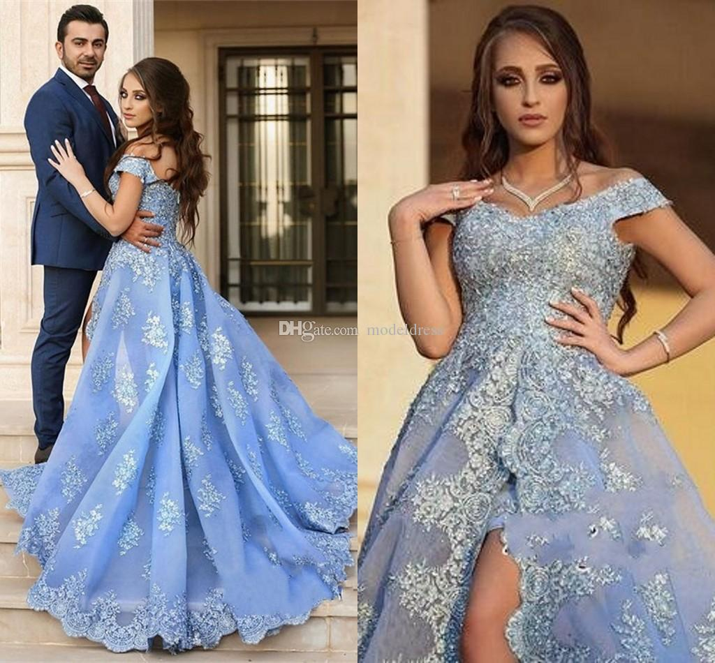 New Formal Arabic Evening Dresses 2018 Off Shoulder Appliques Sweep Train Light Sky Blue Saudi Arabia Prom Party Special Occasion Gowns