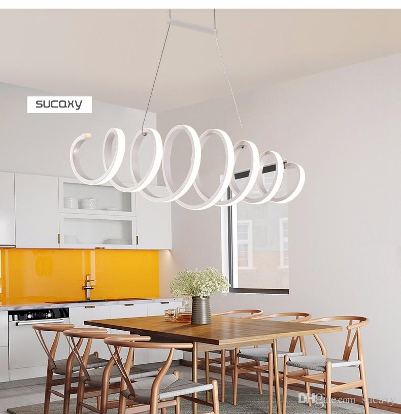 Modern Led Pendant Lights For Dining Room Bar Kitchen Aluminum Acrylic Led Pendant Lamp Fixture Coffee House Bedroom Hanging Ceiling Lamp