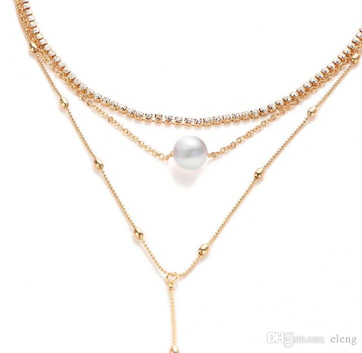 2017 Clavicle necklace diamond pearl Necklace sequins stars tassel Women multilayer Necklaces hip hop jewelry NK121