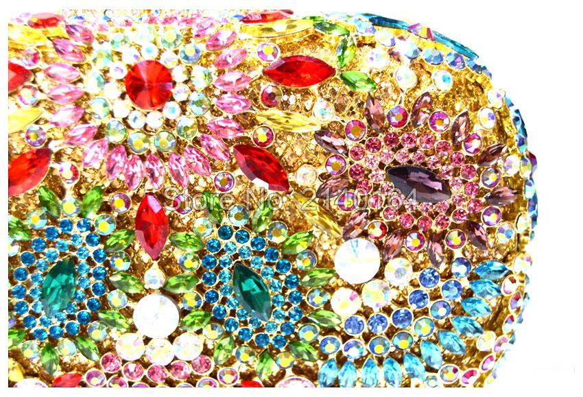 New Retro Flower Crystal Women Evening Clutch Bags Stone Indian Night Bag Evening Dress Bag Debutantes Clutches 88304-C