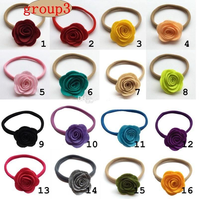 Triple Felt Flower Headband Clips for Kids Baby Girl Christmas Rose headwear Toddler Princess Photo Props Hair Accessories Hair Bow