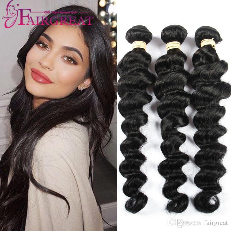 8 28 Inch Brazilian Loose Wave Human Hair Weaves 100 Uprocessed