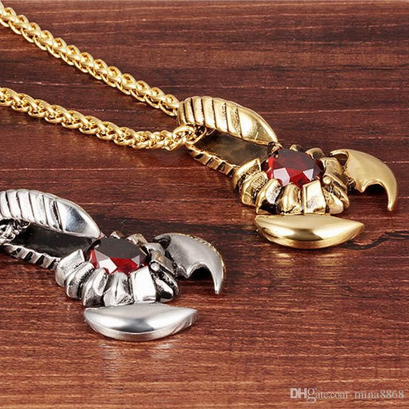 New Design Stainless Steel necklace Cool Men large red CZ Crystal Scorpion Pendant Necklace of Animal Charms