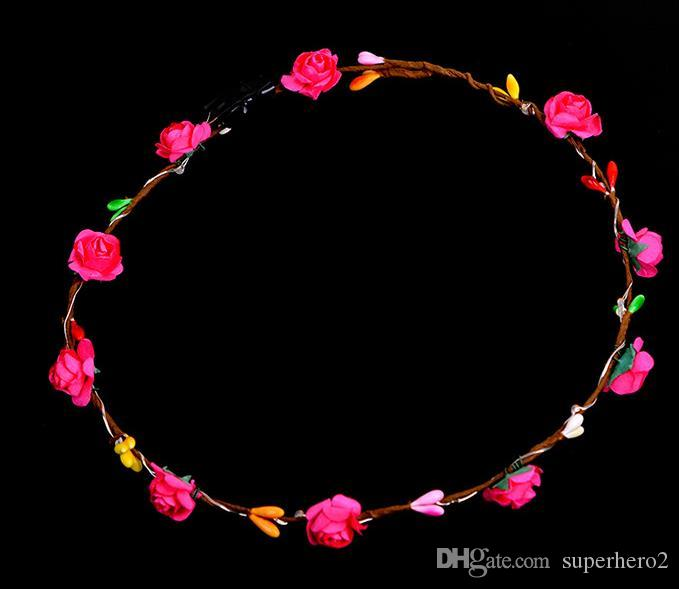 Led Flower Wreath Headband Crown Festival Floral Garland Bohemia for Park Wedding Headdress Glow Hair Band Hen Party favor Decor