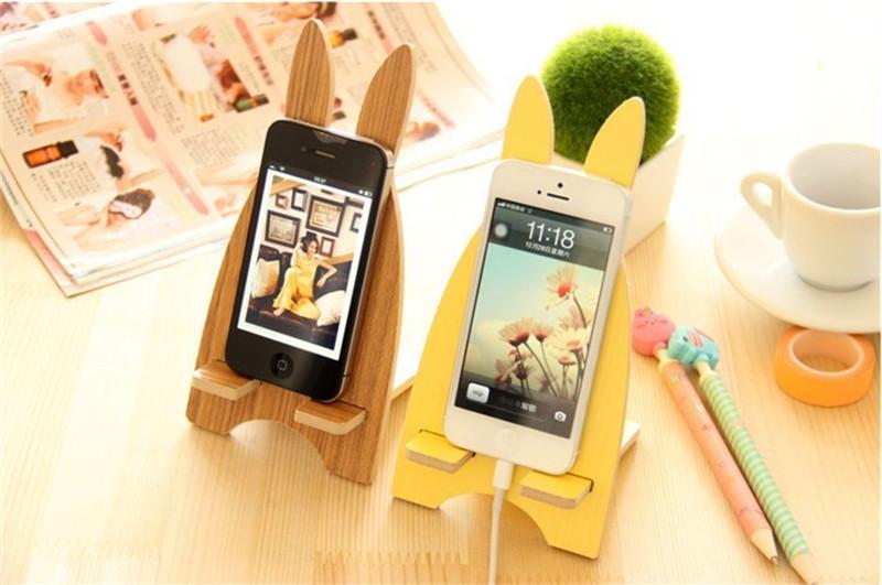 2018 Universal Wood Cute Rabbit Desk Phone Holder Lazy Phone Stand