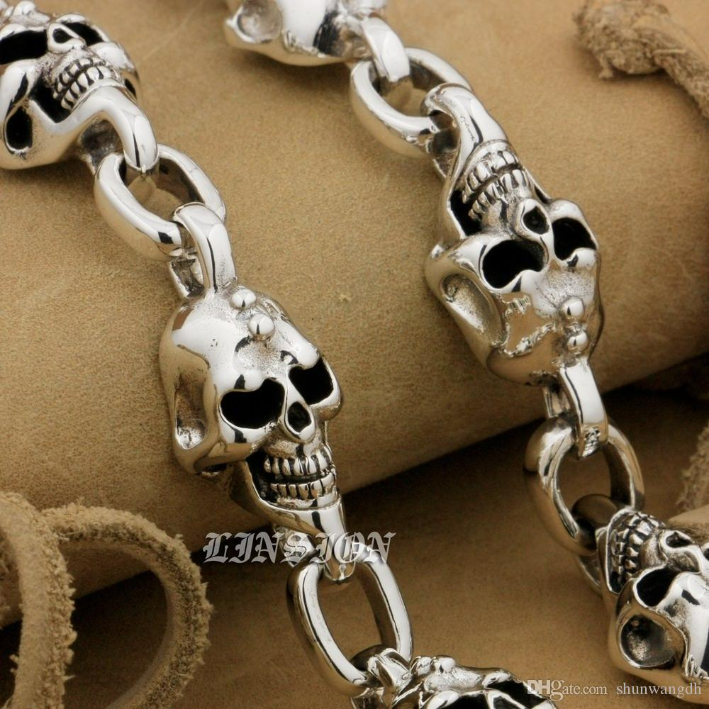 LINSION 925 Sterling Silver Handmade Skull Mens Boys Biker Rock Punk Bracelet 9N022