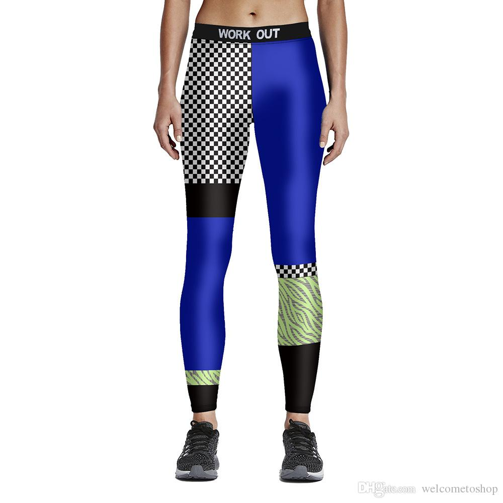 327c16971c7c0 2019 Womens Digital Print Casual Slim Sports Fitness Leggings Pants For  Ladies Plus Size Plaid Patchwork Fashion Workout Skinny Pencil Trousers  From ...