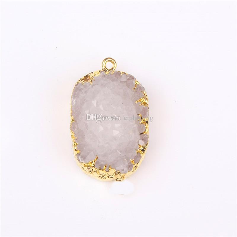 Premium Gold Bezel 20-40mm Drop Shape White Nature Druzy Cluster Gem Agate Pendant in Freefrom Personalized Quartz Geode Boho Stone One Hook