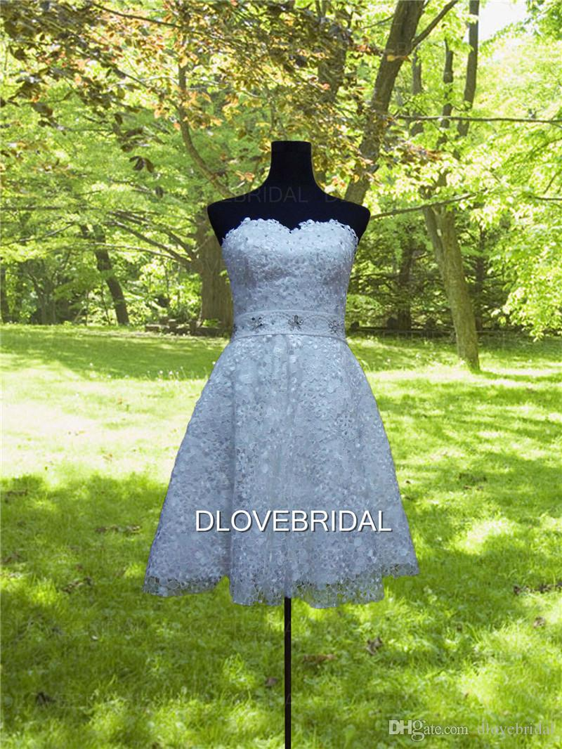 Real Image Short Floral Lace Homecoming Dress High Quality Strapless Sweetheart Delicate Pearl Beaded Special Occassion Dresses Custom Make