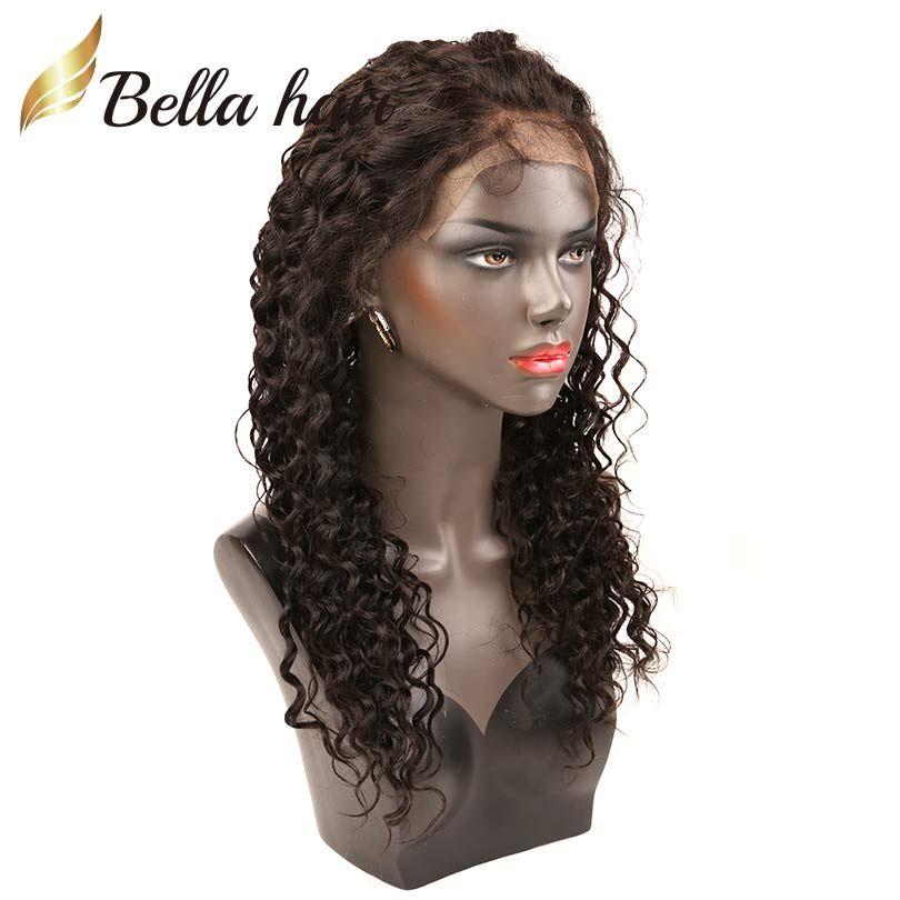Ön-Koparıp Bella Saç Peruk Derin Dalga Tam Dantel Peruk İnsan Saç Dantel Ön Peruk Bebek Saç ile Julienchina Doğal Siyah Renk Derin Kıvırcık